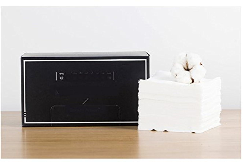 不幸嵐のワイプAorunji 柔らかい スーパーソフトピュアコットンティッシュ使い捨てリントフリーコットンパッドティッシュアイメイクアップリムーバー(Appr.100) (色 : Black)
