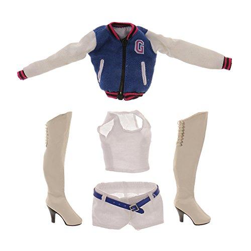 【ノーブランド品】1/6スケール ブルー 野球コート ベスト パンツ ブーツ セット 12インチ 女性用 アクセサリー おもちゃ