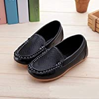 Children Shoes PU Leather Soft Comfortable Loafers Slip Kids Shoes, Size:24(White) Children Shoes (Color : Black)