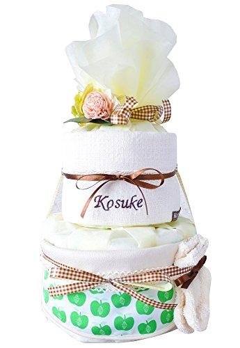 出産祝い おむつケーキ GOTS認証 北欧 オーガニック 今治 タオル 名入れ おしゃれ (オムツS, アップルグリーン スタイ) ソックス