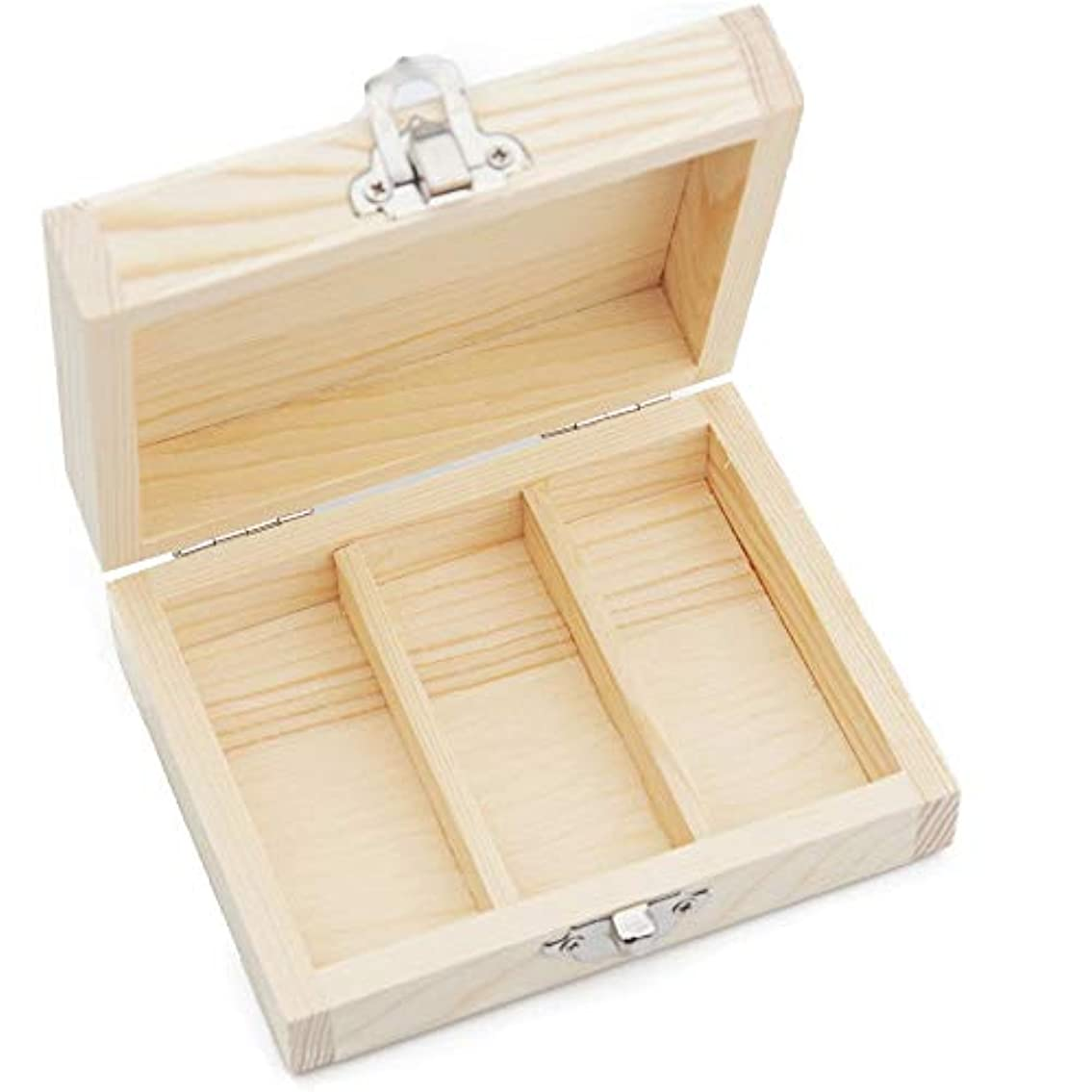 チャーターワードローブ賄賂エッセンシャルオイルボックス オイル主催ケースの3スロットウッドオイルボックス3つの15ミリリットル瓶 アロマセラピー収納ボックス (色 : Natural, サイズ : 11X8.5X4.5CM)
