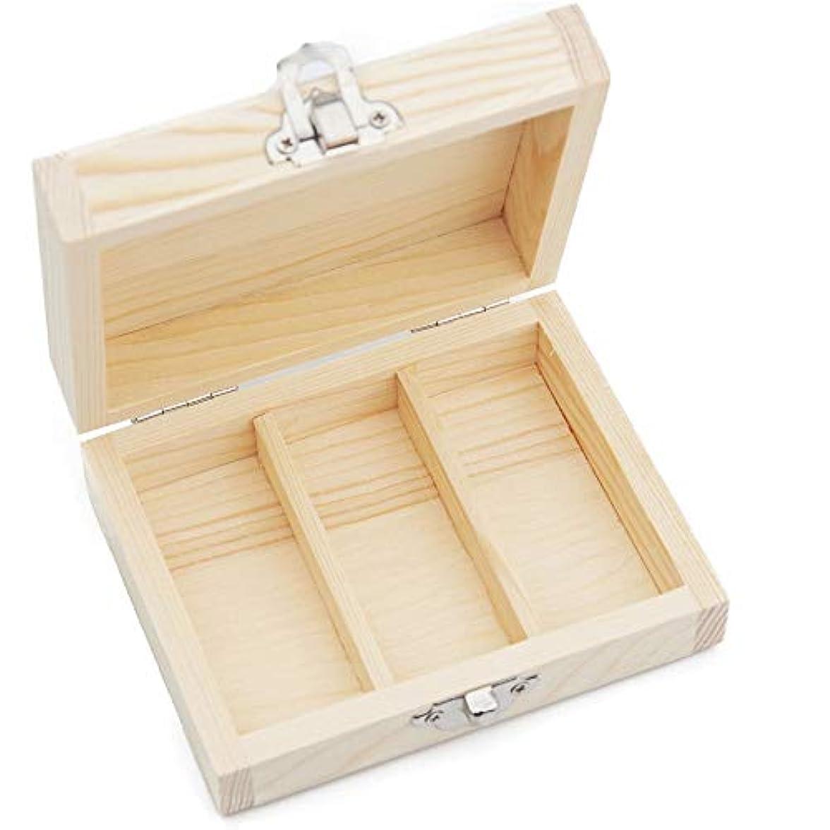 ドロー権限を与える余韻3スロット木エッセンシャルオイルボックスケース主催者は3つの15ミリリットル油のボトルを保持します アロマセラピー製品 (色 : Natural, サイズ : 11X8.5X4.5CM)