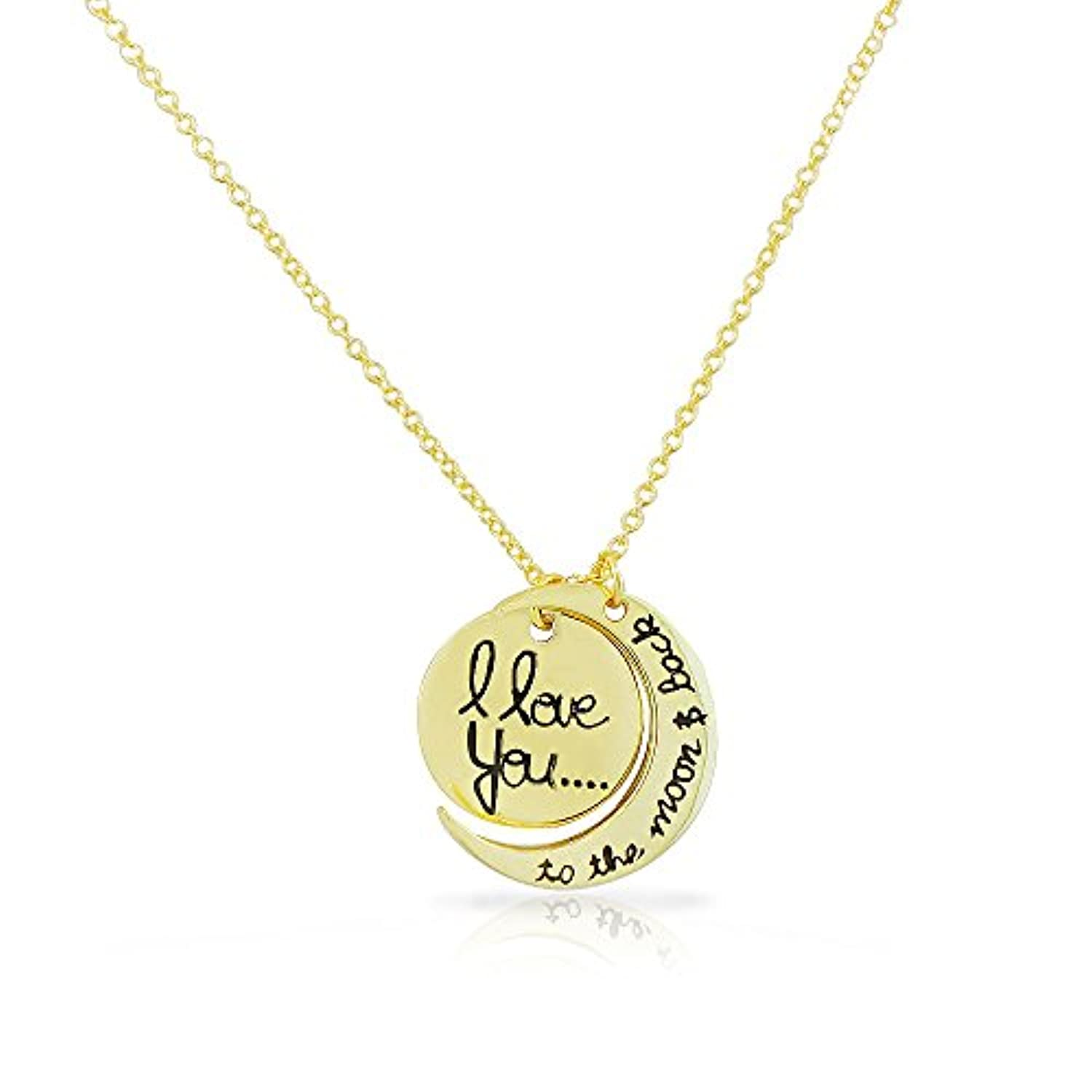 925 Sterling Silver Yellow Gold-Tone I Love You to the Moon and Back Crescent Pendant Necklace