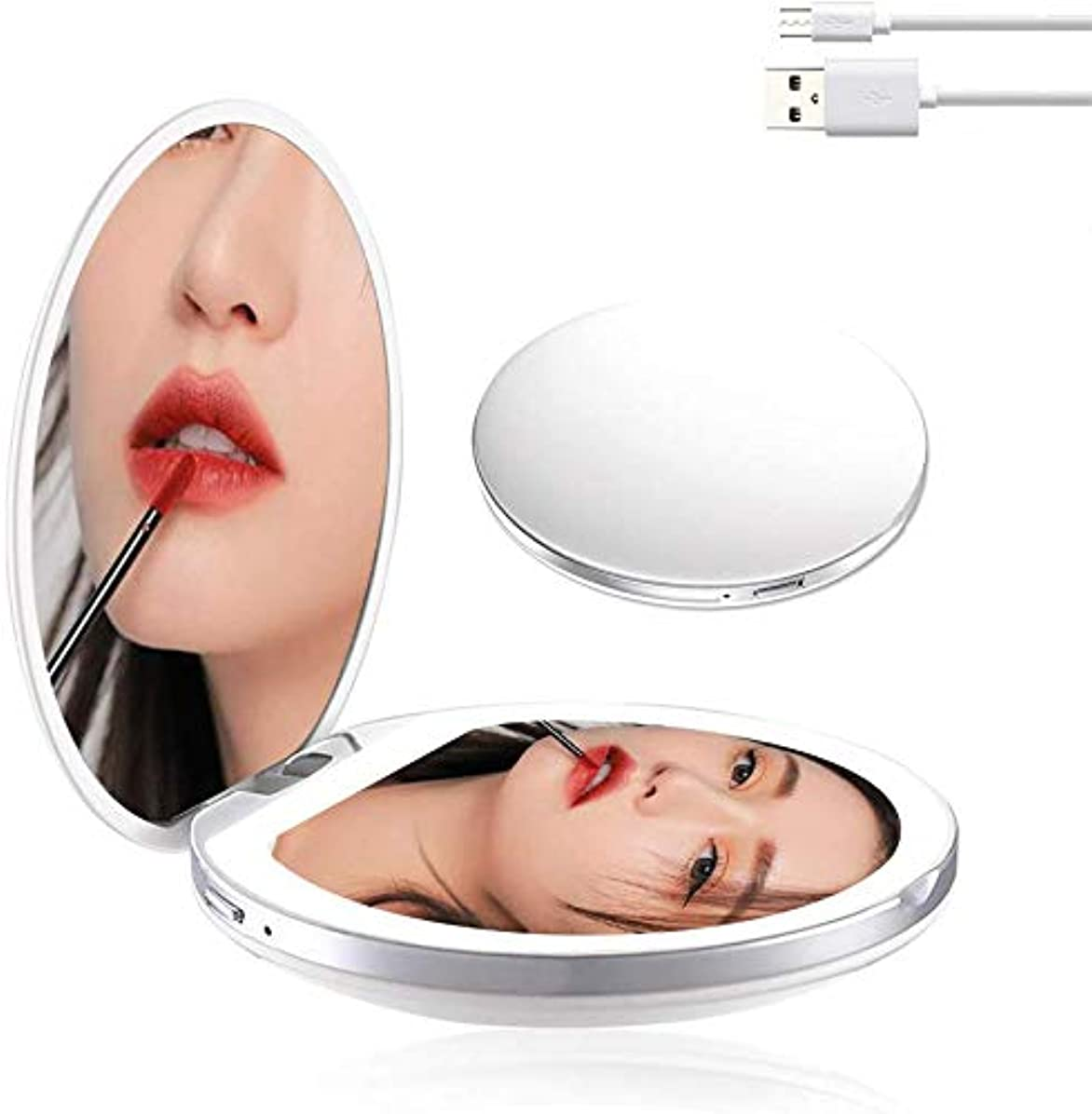 悪魔常習的風味携帯ミラー 化粧鏡 LED手鏡 両面ミラー 折り畳み式鏡 コンパクトミラー 3倍拡大 持ちやすい ファッション 便利軽量 ファッション USB充電 明るさ調節可能 (ホワイト)
