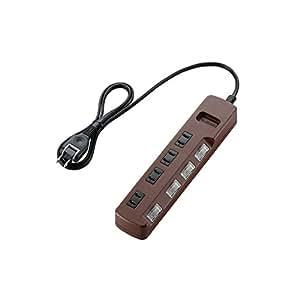 ELECOM 電源タップ color style 雷ガード 省エネ 個別スイッチ 4個口 1m ブラウン T-BR02-2410BR