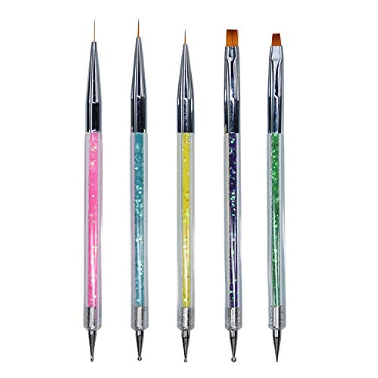 ごちそうマートスーツMissct ネイルアートブラシ 5本セット 2way ネイル筆 ライン 平筆 ドットペン ドット棒 画筆 高級ナイロン筆先 ペン マニキュアツール ジェルネイル 用品道具
