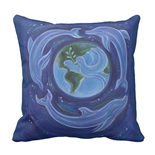 普遍的な平和イルカ の枕 枕カバー 抱き枕用 クッションカバー 抱き枕カバー インテリア飾り用クッションカバー ピローケース 45cm*45cm