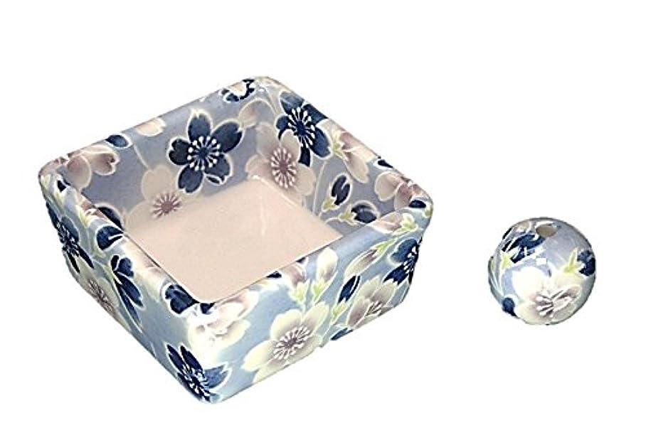 彫刻破産ほめる和モダン 青染桜 お香立て 陶器 角鉢 製造直売品