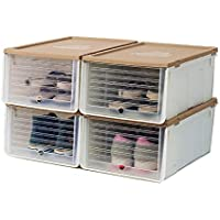 透明なプラスチック収納靴箱、5色の靴箱寮室ワードローブシンプル引き出し収納箱 (色 : A, サイズ さいず : 32.5 * 26 * 15.3CM)