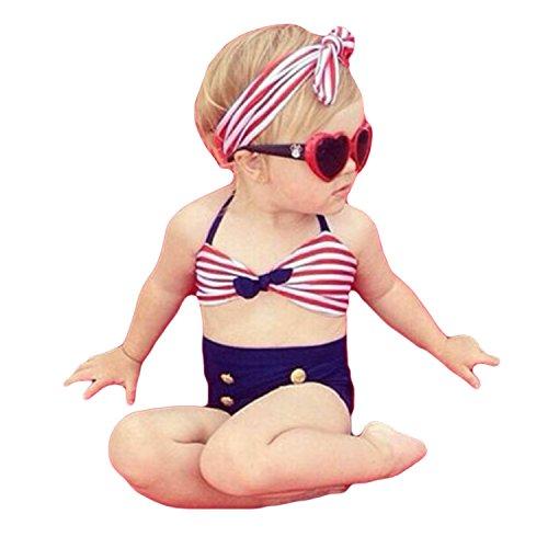 【Buy the world】 ベビー 水着 ガールズ 3点セット レディース ビキニ 女の子 プール 海 ストライプ レッド 70cm
