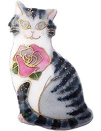 【UncleZ】 七宝焼き ブローチ サバトラ猫とバラの花 (ネコ)