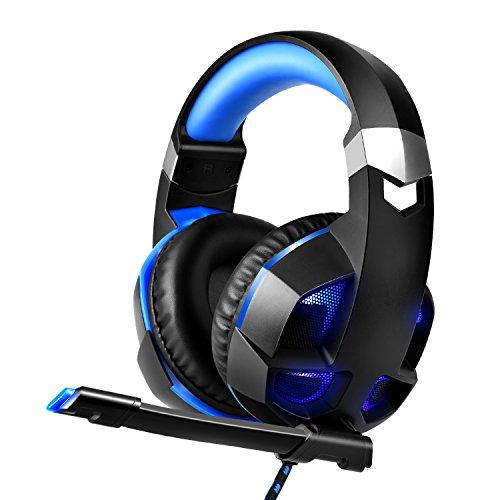 ゲーミングヘッドセット ヘッドホン 高音質 有線重低音強化...