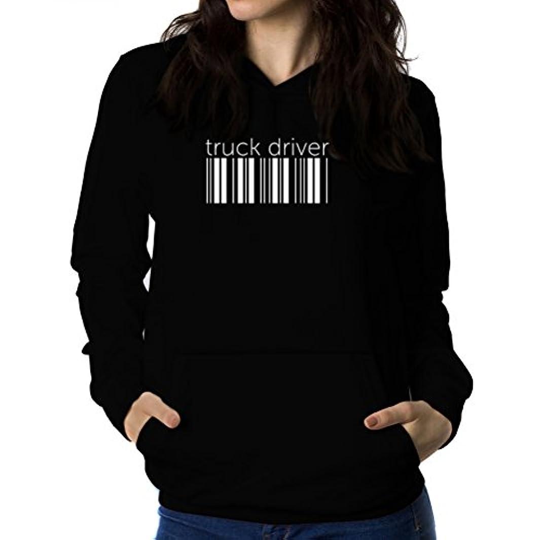 パートナー汚物利用可能Truck Driver barcode 女性 フーディー