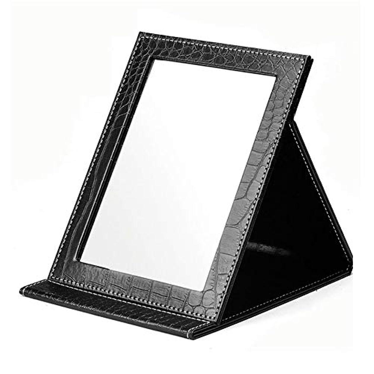 ミラーフォールドメイクアップミラー大型メサドレッシングミラーHDポータブルミラー小型デスク寮の部屋リビングルーム美容 (Color : Black, Size : S)