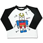 コレジャナイロボ ラグラン長袖Tシャツ 白×クロ100サイズ