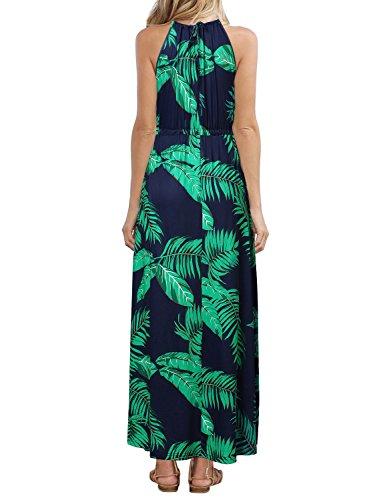 HUSKARY Womens Sleeveless V Neck Spaghetti Strap Pockets Floral Print Beach Boho Tropical Summer Maxi Dress Dark Blue