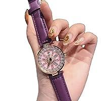 Lclock(エルシーロック) 腕時計 レディース ウォッチ 電池付き 防水 クォーツ ファッション 時計 星空 人気 かわいい カジュアル 高級感 スタンダード ダイヤモンド おしゃれ (ディープパープル)