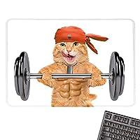 FunnyE-Sportsゲーミングマウスパッドフィットネスキャットリフティングビッグダンベルマッスルキティボディビルディングジムユーモアイメージノンスリップラバーベース