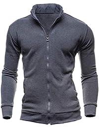 maweisong メンズレトロロングスリーブスタンドカラースウェットシャツカーディガンジャケット