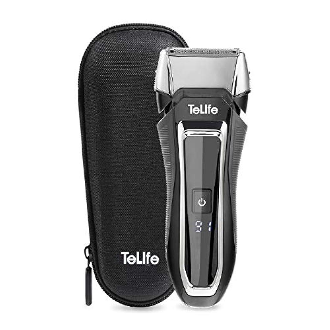 深める確率ますますTeLife ひげそり 電動 メンズシェーバー 往復式 シェーバー 3枚刃 髭剃り 水洗い/お風呂剃り可 急速充電 電気シェーバー (ブラック)