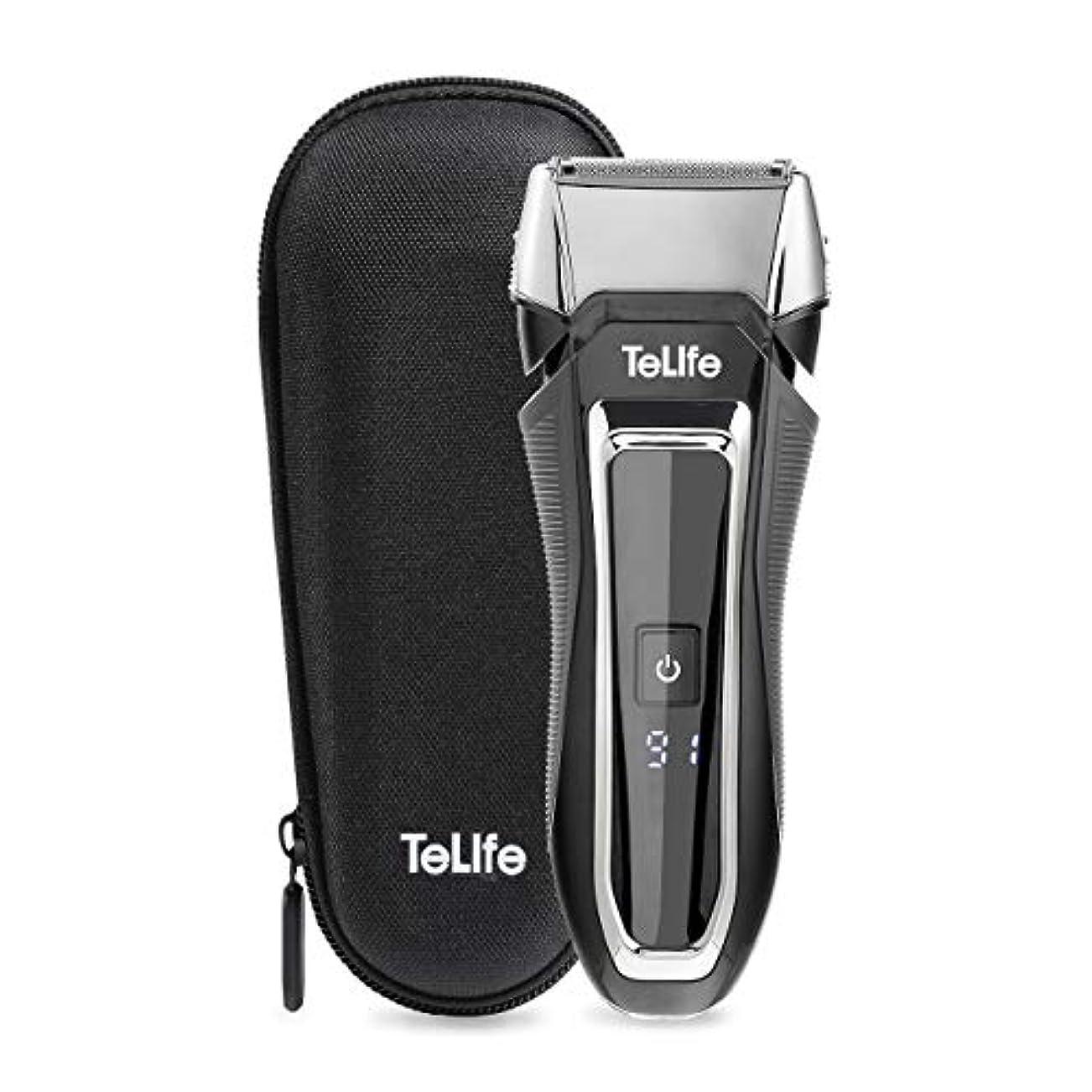スリップゴミ箱を空にする海峡TeLife ひげそり 電動 メンズシェーバー 往復式 シェーバー 3枚刃 髭剃り 水洗い/お風呂剃り可 急速充電 電気シェーバー (ブラック)