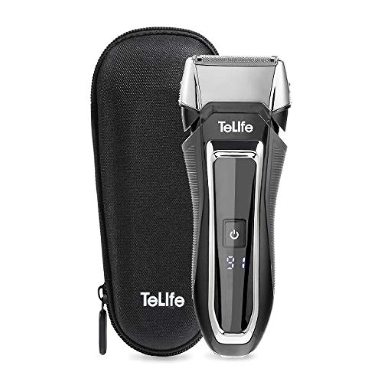 喪驚印刷するTeLife ひげそり 電動 メンズシェーバー 往復式 シェーバー 3枚刃 髭剃り 水洗い/お風呂剃り可 急速充電 電気シェーバー (ブラック)