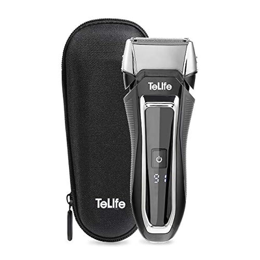 傑出したクルー有効なTeLife ひげそり 電動 メンズシェーバー 往復式 シェーバー 3枚刃 髭剃り 水洗い/お風呂剃り可 急速充電 電気シェーバー (ブラック)