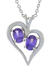 1 Ct Amethyst CZ Oval Heart Pendant .925 Sterling Silver