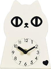 スチール置き時計 オブジェ クロック [ネコ] ホワイト G-5017N