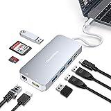 DesertWest USB C ハブ 9 in1「最新版」 usb type C ハブ 4K HDMI SD/Micro SD カードリーダー LANポート(1000Mbps) USB3.0 * 4 Type C アダプター ドッキングステーション Thunderbolt3 PD充電対応 MacBook、MacBookPro2016 /2017/ 2018/ChromeBookなど対応