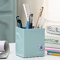樹脂 ペン立て, 創造的なファッション ペン オーガナイザーかわいいビジネス ギフト文房具ホルダー多機能デスク オーガナイザー-青 8x9x10cm(3x4x4inch)