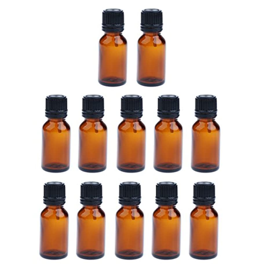 スクリュー石鹸適度な12個 ガラス ボトル 空ボトル 詰替え 容器 オイルボトル 化粧品 コスメ DIY 茶色 3サイズ選べる - 10ML
