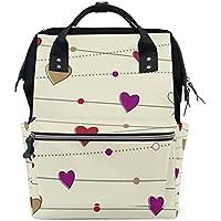 ママバッグ マザーズバッグ リュックサック ハンドバッグ 旅行用 バレンタインデー 線とハート ファション