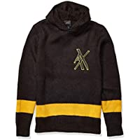 Armani Exchange A|X Men's Pullover Hooded Sweater with Tonal Bottom Stripe, Black, S