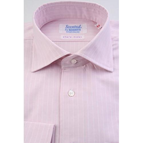 (スキャッティ) Scented ライトピンク地 白抜き ストライプ ワイドカラー (細身) ドレスシャツ wd4012-4185