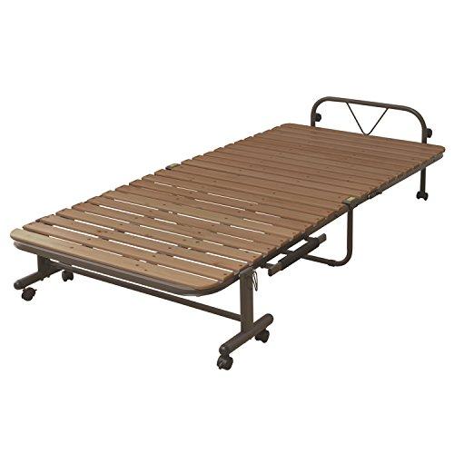 山善(YAMAZEN) 布団干し機能付きすのこ折りたたみベッド シングル SBB-7S(DBR)