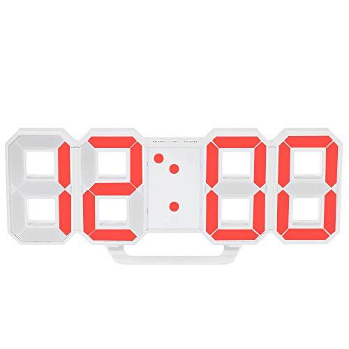 Decdeal 多機能 LED デジタル ウォールクロック アラーム スヌーズ 機能付き 12H / 24H 時間表示 輝度調整可能