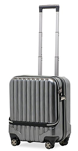 スーツケース 機内持込 軽量 小型 フロントオープン ダブルキャスター 8輪 【W-Receipt】 ハードキャリー ダブルファスナータイプ キャリーケース キャリーバッグ 前ポケット (S-37L-ヘアーライン/ブラック)
