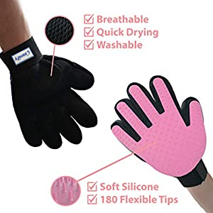Zenify Cat Hair Remover Grooming Gloves Mitts for Deshedding Fur from Cats, Kittens, Rabbits, Guinea Pigs (Light Pink 2 Pack - 1x Right 1x Left)