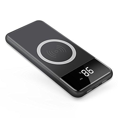 モバイルバッテリー ワイヤレス充電器 Qi 急速 大容量 2USBポート 有線と無線 iPhone X / iPhone8 Plus/Galaxy Note 8 / Galaxy S6 S7 / Galaxy S8 Plus など対応 10000mAh I.Lux (ブラック)