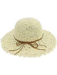 Yaojiaju 夏のストロー帽子、ちょう結びの麦わら帽子夏のビーチファッションのフロッピーの手のKniteパナマの女性のための広い帽子