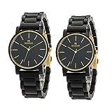 男性木製時計、レディースクラシッククオーツアナログ時計、エボニーカップル用時計、父の日母の日ギフト、バレンタインデー誕生日プレゼント、Amazonの