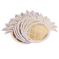 Prettyia パイナップル形状 輝き 紙皿 熱帯風パーティー 果物テーマのパーティー デコレーション 食卓 飾り付け 金色 8枚入り