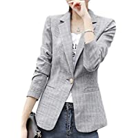 Women Long Sleeve Plaid One Button Blazer Jacket Work Office Blazer