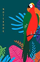"Notebook: Dotted grid Journal. Bullet Diary. Ideal for Notes, Memories, Journaling, Creative planning and Calligraphy practice. 120 Pages. Portable. 5.5"" x 8.5"" (Half letter) Great gift idea. (Tropical pattern, summer, parrot. Soft matte cover)."
