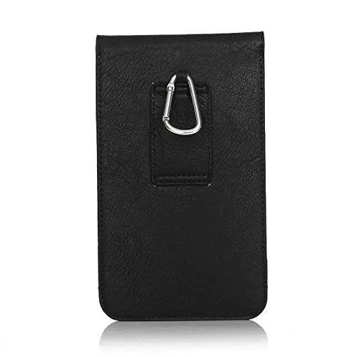 汎用 携帯 スマホ ホルスター 6.3インチ 以下対応 ガラケー ケース ベルト 合皮 PU 革 大容量ポーチ カラビナフック付 カード収納 札収納機能 (ブラック)