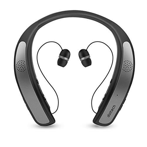 ネックバンドスピーカー ワイヤレス Bluetoothイヤホン2 in 1 ウェアラブル/10時間連続使用/Bluetooth4.1搭載/伸縮式ケーブル 音楽/通話/テレビなど適用 HI-FI 3Dステレオ マイク内蔵 首かけスピーカー (チタングレー)