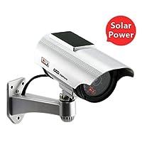 smileyyiダミーセキュリティカメラSolar Poweredカメラアウトドア閉じた回路セキュリティカメラ監視フェイクカメラwith LED