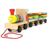 Gmasking 木製 おままごとセット 機関車 電車 積み木 列車 幼児教育 創意玩具 子供おもちゃ 知育玩具 木製のおもちゃ 幾何学ブロック アセンブリの 建築用ブロック (積み木 列車)