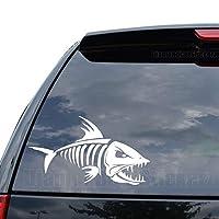 魚ボーン釣りデカールステッカー車トラックオートバイウィンドウiPadノートパソコン壁装飾 (09 in / 23 cm) Wide SP.136-09MWH